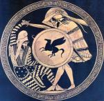 Greek hoplite and Persian warrior fighting each other. Depiction in ancientkylix. 5th c. B.C. National Archaeological Museum of Athens (CreativeCommons, http://commons.wikimedia.org/wiki/File:Greek-Persian-2.jpg)