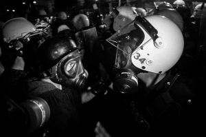 Protestsers vs. police forces. Istnbul. Events of June 15, 2013.