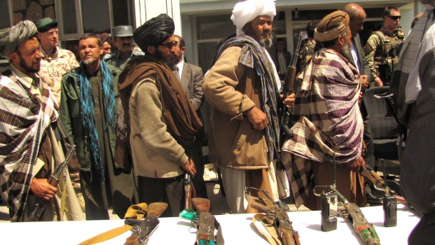 Taliban fighters demobilising in Afghanistan. Photo:  Source of image: Isafmedia (some rights reserved)