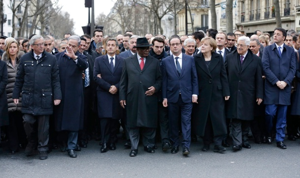 Heads of State marching through Paris after the Charlie Bebdo attacks. Photo: European External Action (creative commons)