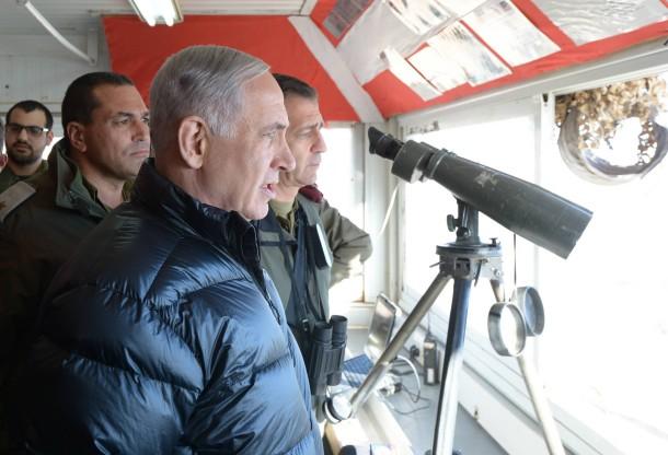 Benjamin Netanyahu visits the IDF Hermon Brigade base, February 2015. Photo: Amos Ben Gershom, GPO (CC)