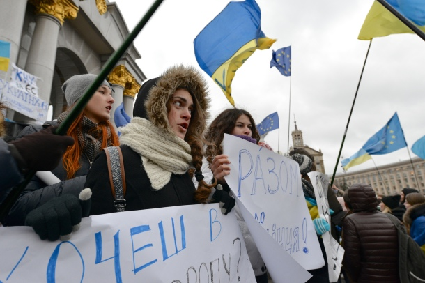 Demonstrators at a Euromaidan pro-EU rally in Kiev, Ukraine, 26 November 2013. Photo: Ivan Bandura (CC 2.0)