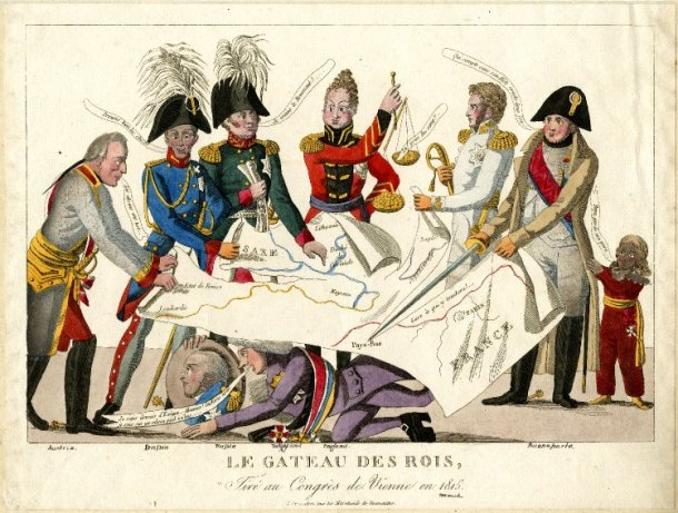 Le gateau des rois, / tiré au Congrès de Vienne en 1815. Depicts the leaders of Europe squabbling over the map of Europe at the Vienna Congress. Photo: British Museum (published under fair use policy for intellectual non-commercial purposes)