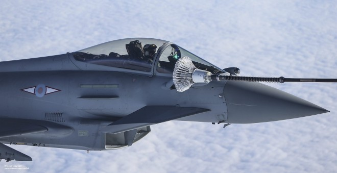 An RAF Typhoon FGR4 refuels from a Voyager tanker aircraft. Photo: MoD, Cpl Neil Bryden RAF.